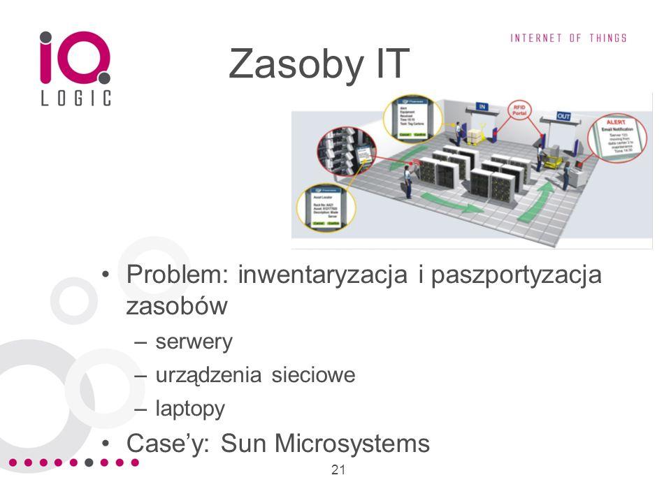 21 Zasoby IT Problem: inwentaryzacja i paszportyzacja zasobów –serwery –urządzenia sieciowe –laptopy Casey: Sun Microsystems