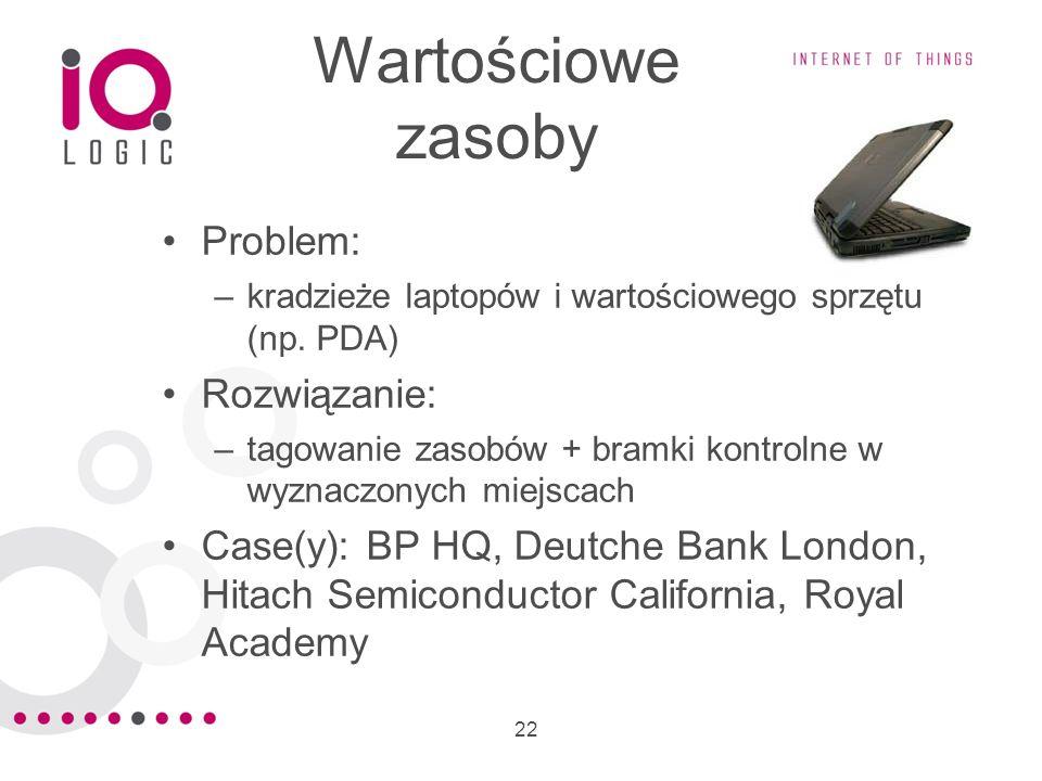 22 Wartościowe zasoby Problem: –kradzieże laptopów i wartościowego sprzętu (np. PDA) Rozwiązanie: –tagowanie zasobów + bramki kontrolne w wyznaczonych