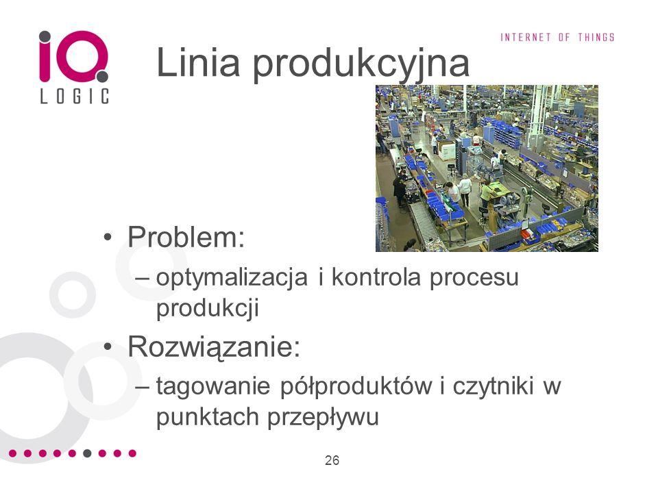26 Linia produkcyjna Problem: –optymalizacja i kontrola procesu produkcji Rozwiązanie: –tagowanie półproduktów i czytniki w punktach przepływu