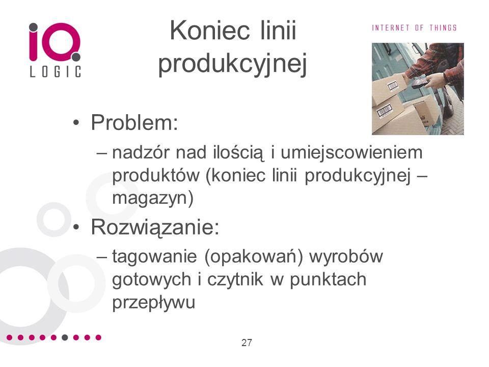 27 Koniec linii produkcyjnej Problem: –nadzór nad ilością i umiejscowieniem produktów (koniec linii produkcyjnej – magazyn) Rozwiązanie: –tagowanie (o