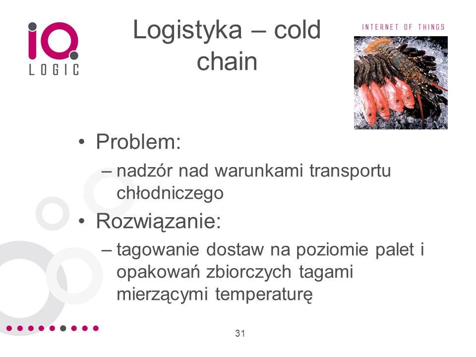 31 Logistyka – cold chain Problem: –nadzór nad warunkami transportu chłodniczego Rozwiązanie: –tagowanie dostaw na poziomie palet i opakowań zbiorczyc