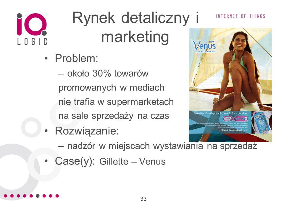 33 Rynek detaliczny i marketing Problem: –około 30% towarów promowanych w mediach nie trafia w supermarketach na sale sprzedaży na czas Rozwiązanie: –