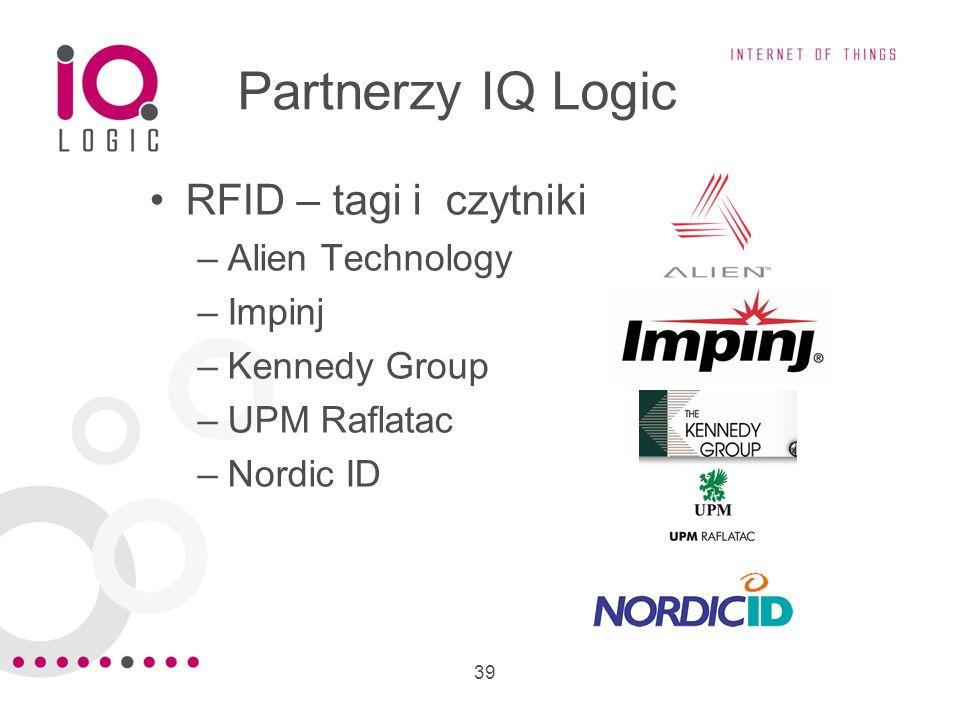 39 Partnerzy IQ Logic RFID – tagi i czytniki –Alien Technology –Impinj –Kennedy Group –UPM Raflatac –Nordic ID