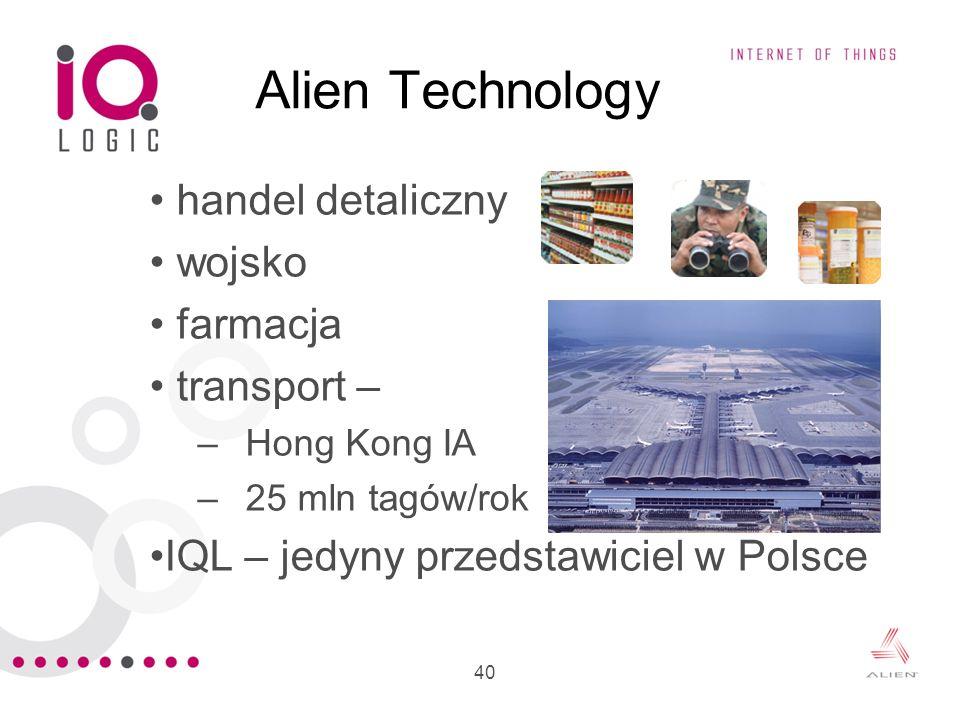 40 Alien Technology handel detaliczny wojsko farmacja transport – –Hong Kong IA –25 mln tagów/rok IQL – jedyny przedstawiciel w Polsce