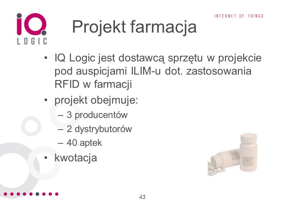 43 Projekt farmacja IQ Logic jest dostawcą sprzętu w projekcie pod auspicjami ILIM-u dot. zastosowania RFID w farmacji projekt obejmuje: –3 producentó