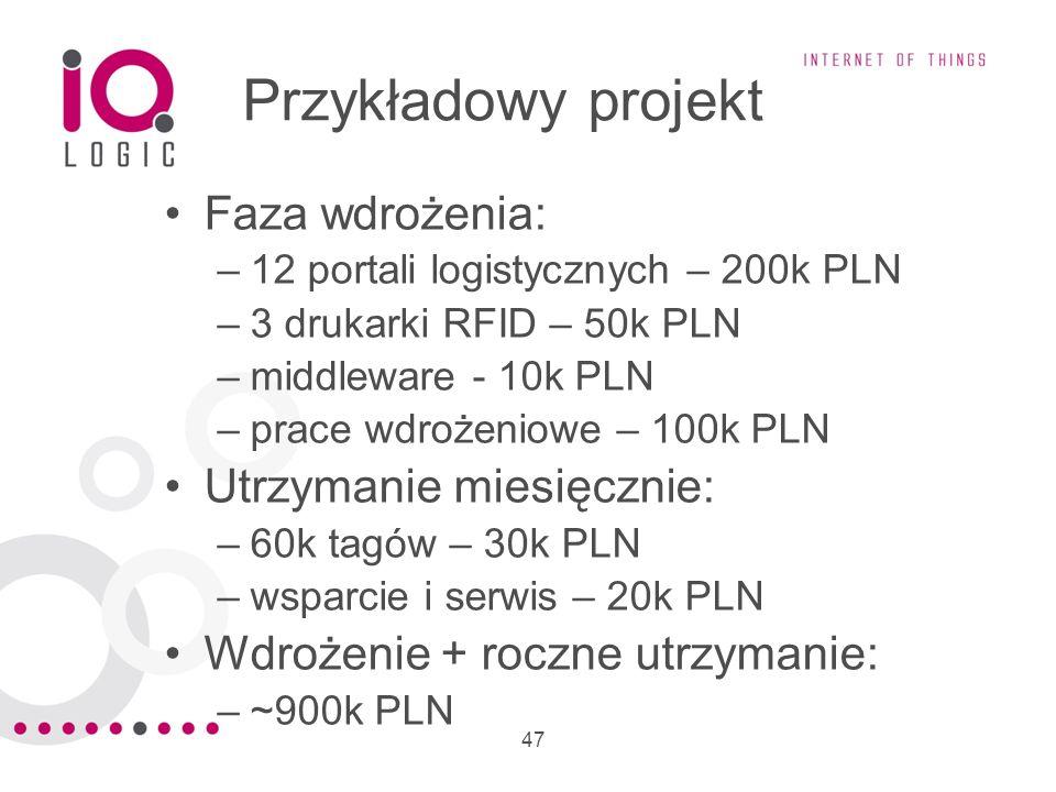 47 Przykładowy projekt Faza wdrożenia: –12 portali logistycznych – 200k PLN –3 drukarki RFID – 50k PLN –middleware - 10k PLN –prace wdrożeniowe – 100k