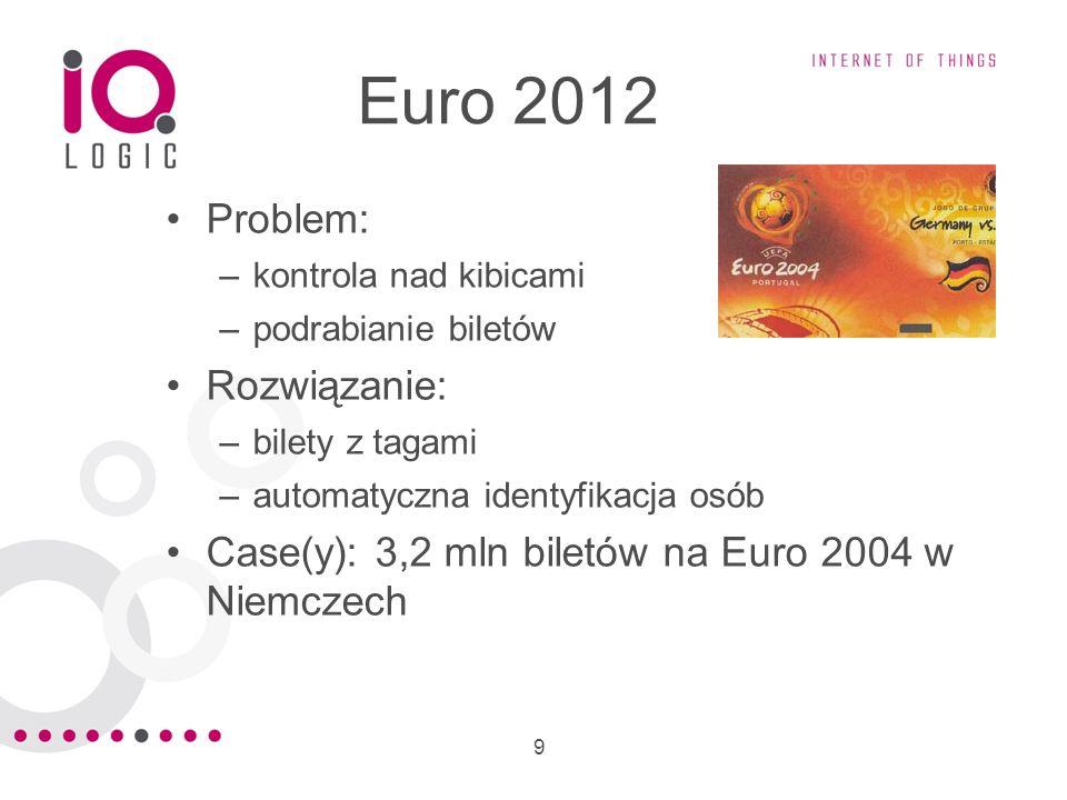 9 Euro 2012 Problem: –kontrola nad kibicami –podrabianie biletów Rozwiązanie: –bilety z tagami –automatyczna identyfikacja osób Case(y): 3,2 mln bilet