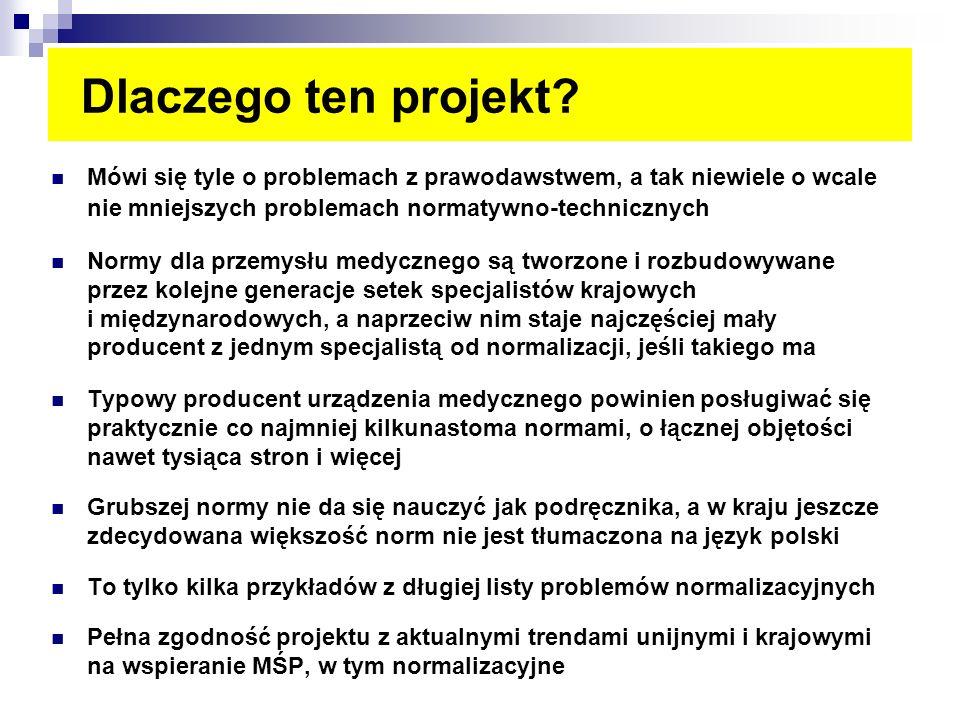 Dlaczego ten projekt? Mówi się tyle o problemach z prawodawstwem, a tak niewiele o wcale nie mniejszych problemach normatywno-technicznych Normy dla p