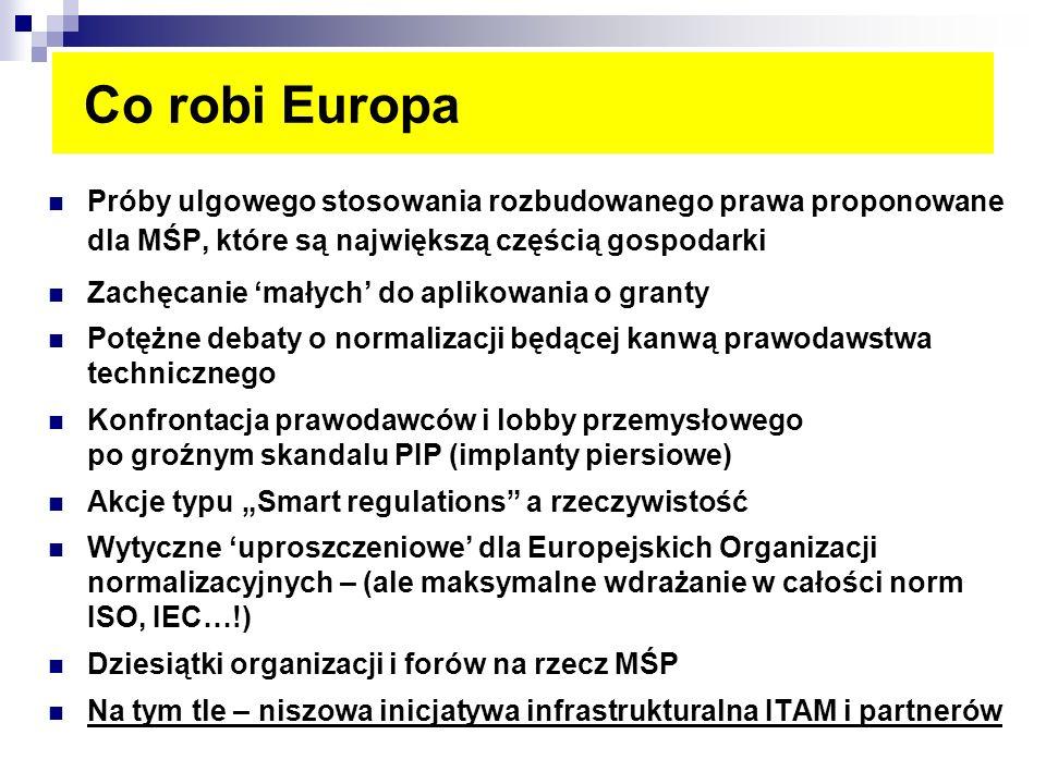 Co robi Europa Próby ulgowego stosowania rozbudowanego prawa proponowane dla MŚP, które są największą częścią gospodarki Zachęcanie małych do aplikowa