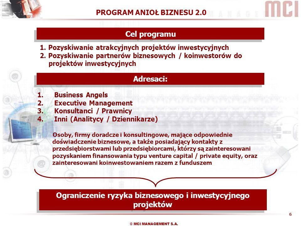7 © MCI MANAGEMENT S.A.1. Zgłoszenie projektu 2. Wsparcie procesu analizy projektu i negocjacji 3.