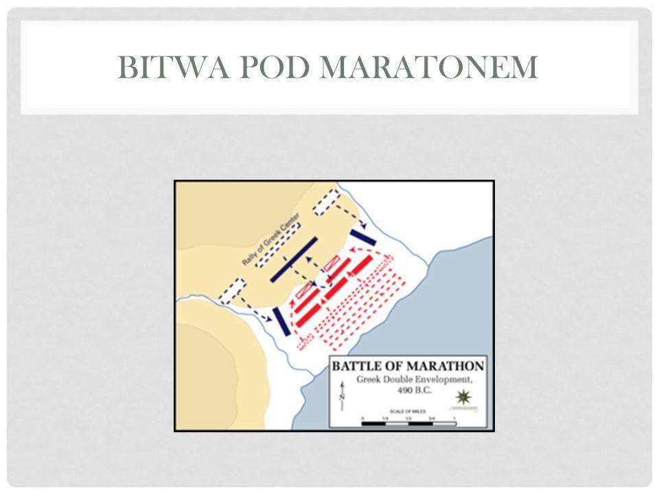 HERODOT BITWA POD MARATONEM Po uszykowaniu się i pomyślnym wyniku ofiar, Ateńczycy na dany znak ruszyli pędem przeciw barbarzyńcom.