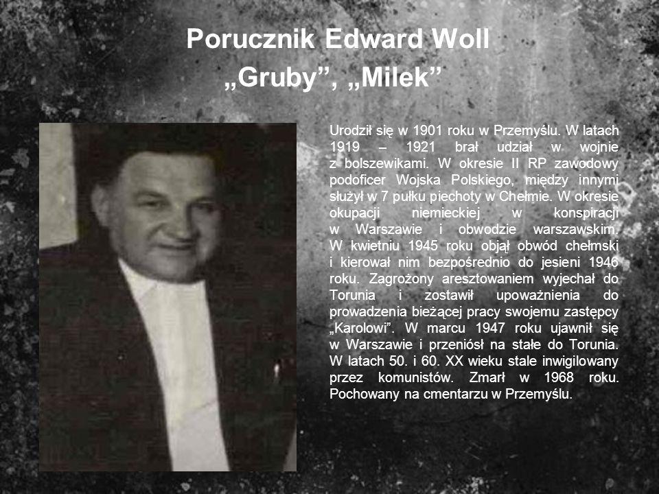 Porucznik Edward Woll Gruby, Milek Urodził się w 1901 roku w Przemyślu. W latach 1919 – 1921 brał udział w wojnie z bolszewikami. W okresie II RP zawo