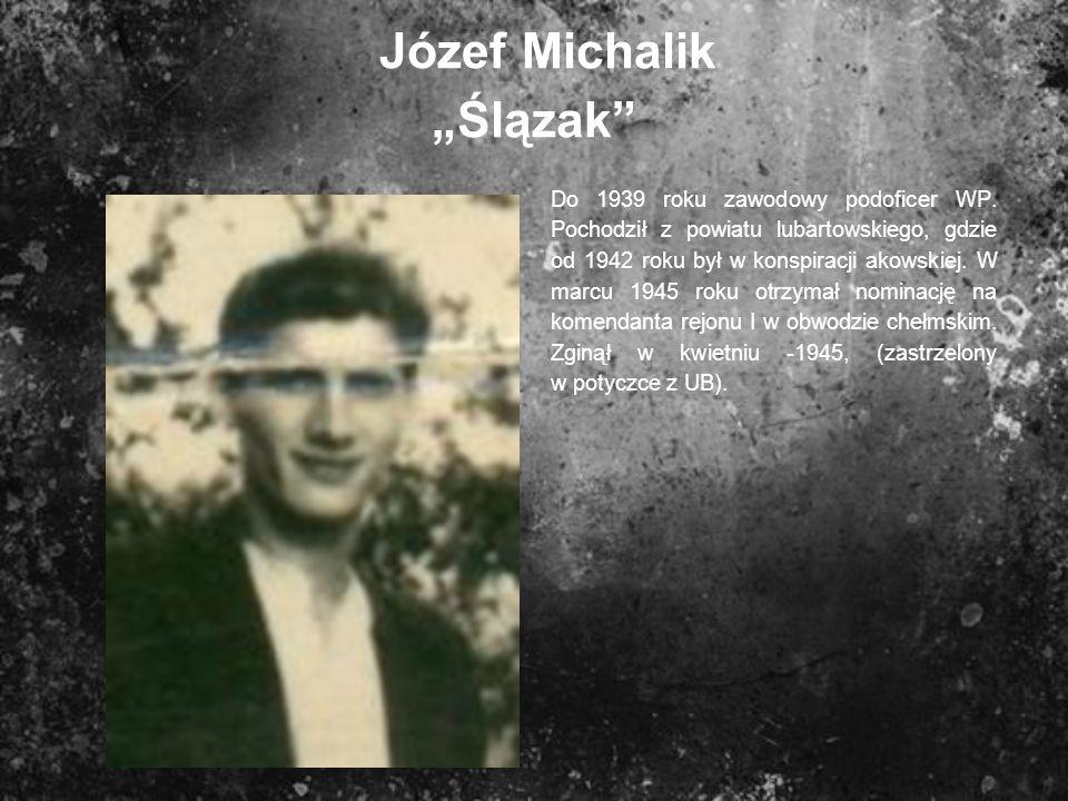 Józef Michalik Ślązak Do 1939 roku zawodowy podoficer WP. Pochodził z powiatu lubartowskiego, gdzie od 1942 roku był w konspiracji akowskiej. W marcu