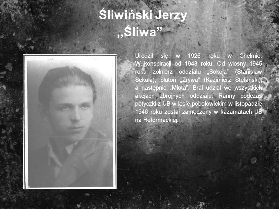 Śliwiński Jerzy,,Śliwa Urodził się w 1926 roku w Chełmie. W konspiracji od 1943 roku. Od wiosny 1945 roku żołnierz oddziału Sokoła (Stanisław Sekuła),