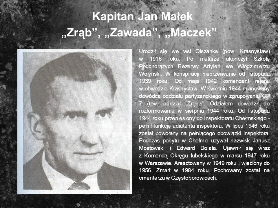 Kapitan Jan Małek Zrąb, Zawada, Maczek Urodził się we wsi Olszanka (pow. Krasnystaw) w 1916 roku. Po maturze ukończył Szkołę Podchorążych Rezerwy Arty