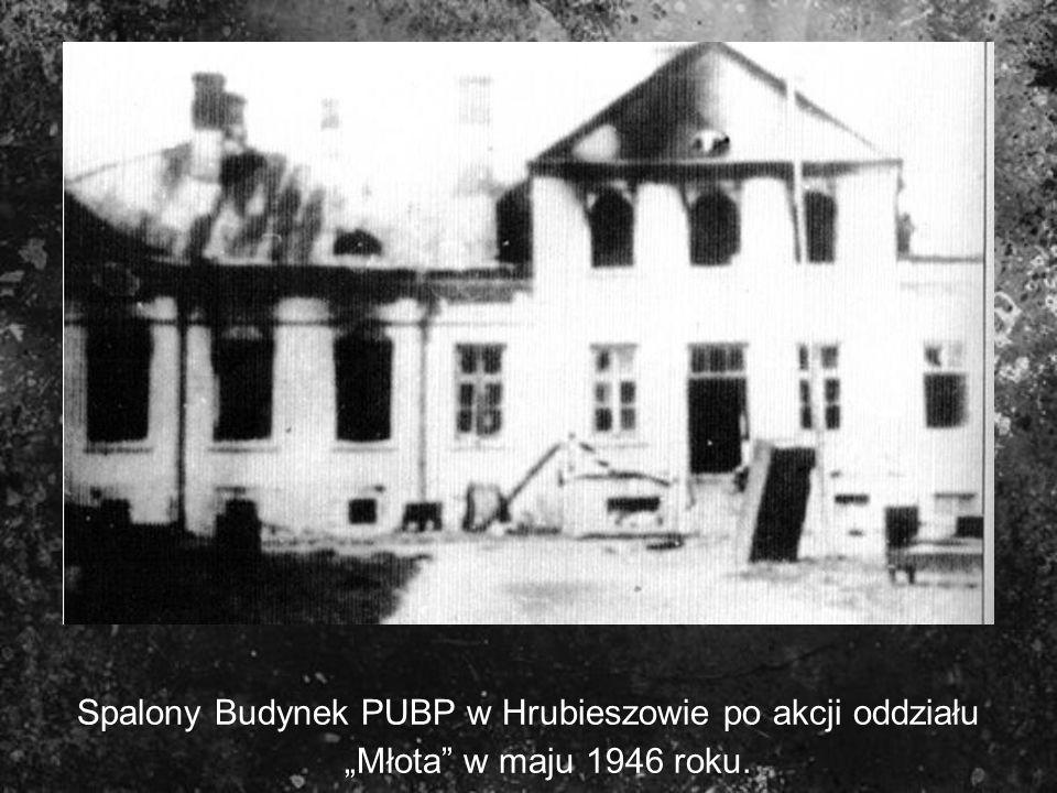 Spalony Budynek PUBP w Hrubieszowie po akcji oddziału Młota w maju 1946 roku.
