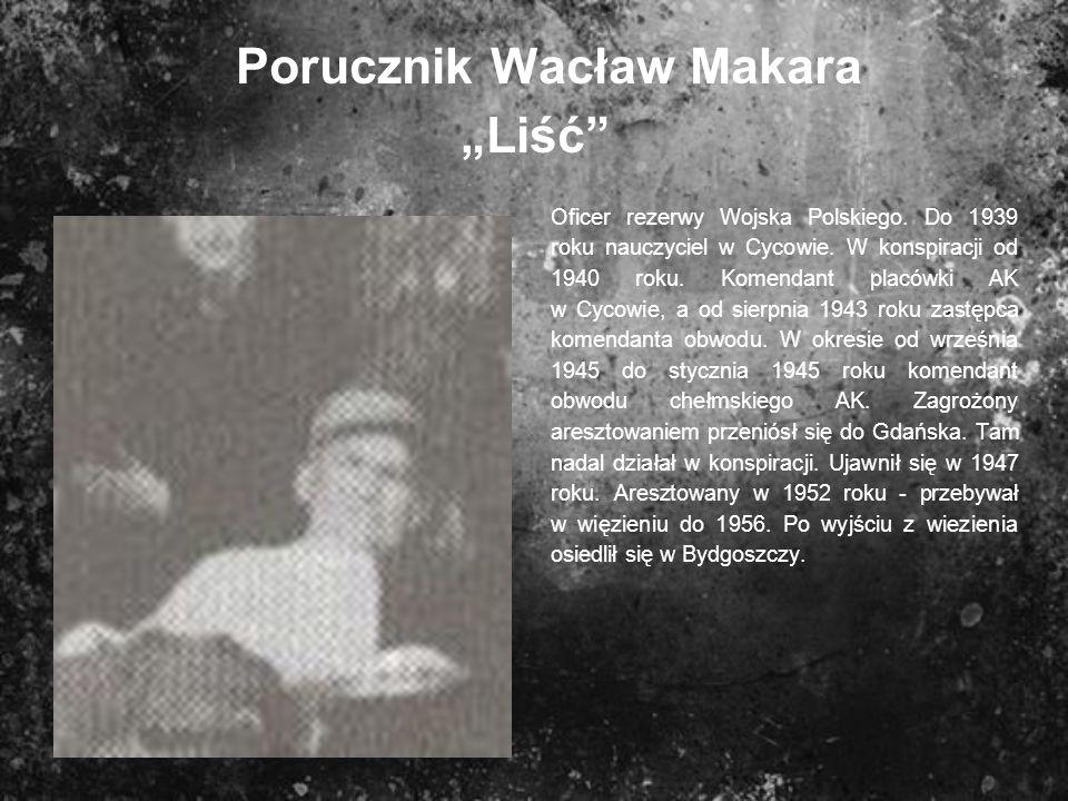 Porucznik Wacław Makara Liść Oficer rezerwy Wojska Polskiego. Do 1939 roku nauczyciel w Cycowie. W konspiracji od 1940 roku. Komendant placówki AK w C