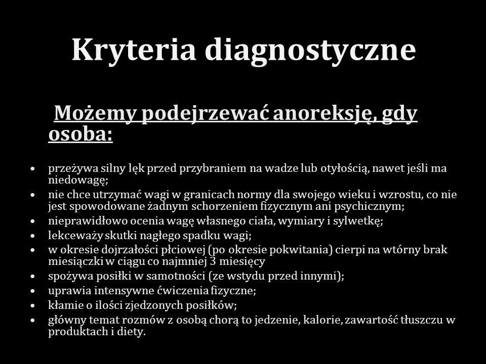 Rozpoznano dwa typy anoreksji: Typ restrykcyjny Charakteryzuje się tym, że chory ogranicza przyjmowanie pokarmu do bardzo niewielkich ilości i nieregularnie stosuje środki przeczyszczające.