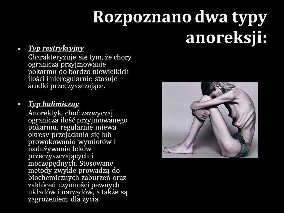 Rozpoznano dwa typy anoreksji: Typ restrykcyjny Charakteryzuje się tym, że chory ogranicza przyjmowanie pokarmu do bardzo niewielkich ilości i nieregu
