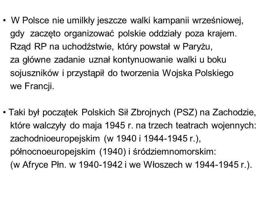 W Polsce nie umilkły jeszcze walki kampanii wrześniowej, gdy zaczęto organizować polskie oddziały poza krajem.