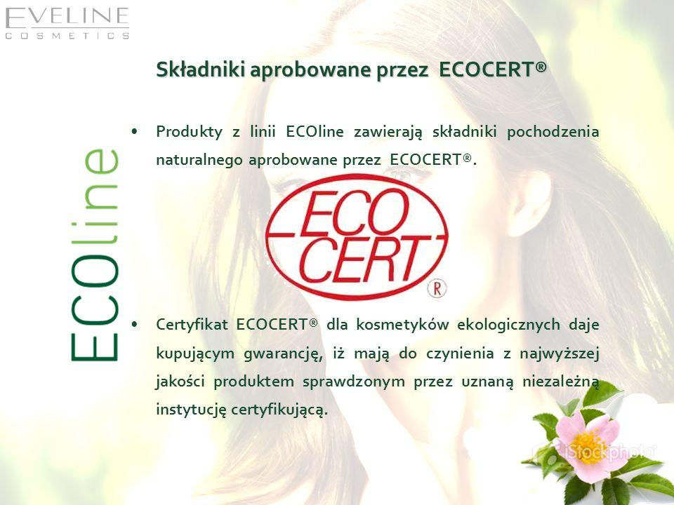 Składniki aprobowane przez ECOCERT® Produkty z linii ECOline zawierają składniki pochodzenia naturalnego aprobowane przez ECOCERT®. Certyfikat ECOCERT
