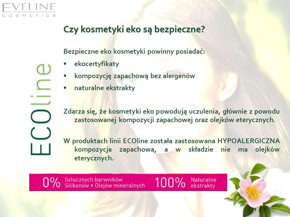 Czy kosmetyki eko są bezpieczne? Bezpieczne eko kosmetyki powinny posiadać: ekocertyfikaty kompozycję zapachową bez alergenów naturalne ekstrakty Zdar