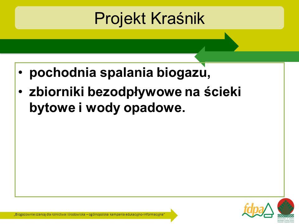 Biogazownie szansą dla rolnictwa i środowiska – ogólnopolska kampania edukacyjno-informacyjna Projekt Kraśnik pochodnia spalania biogazu, zbiorniki be