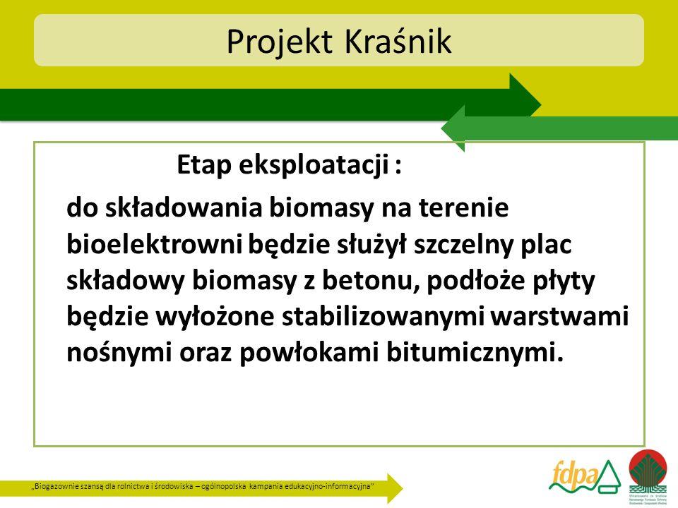 Biogazownie szansą dla rolnictwa i środowiska – ogólnopolska kampania edukacyjno-informacyjna Projekt Kraśnik Etap eksploatacji : do składowania bioma