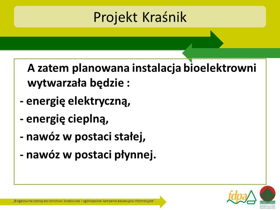 Biogazownie szansą dla rolnictwa i środowiska – ogólnopolska kampania edukacyjno-informacyjna Projekt Kraśnik A zatem planowana instalacja bioelektrow