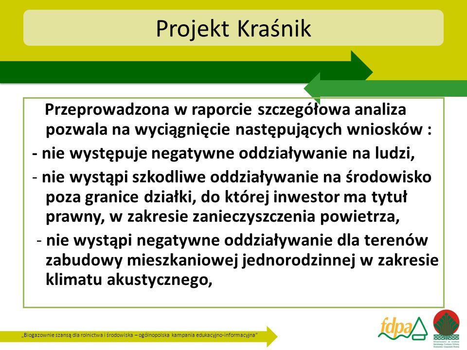 Biogazownie szansą dla rolnictwa i środowiska – ogólnopolska kampania edukacyjno-informacyjna Projekt Kraśnik Przeprowadzona w raporcie szczegółowa an