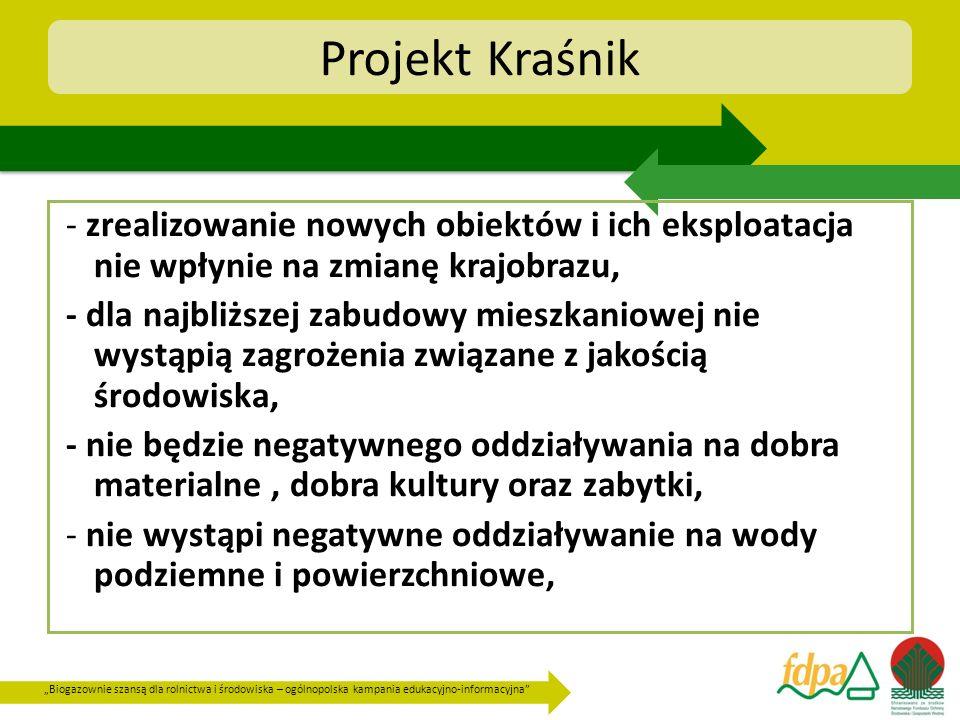 Biogazownie szansą dla rolnictwa i środowiska – ogólnopolska kampania edukacyjno-informacyjna Projekt Kraśnik - zrealizowanie nowych obiektów i ich ek