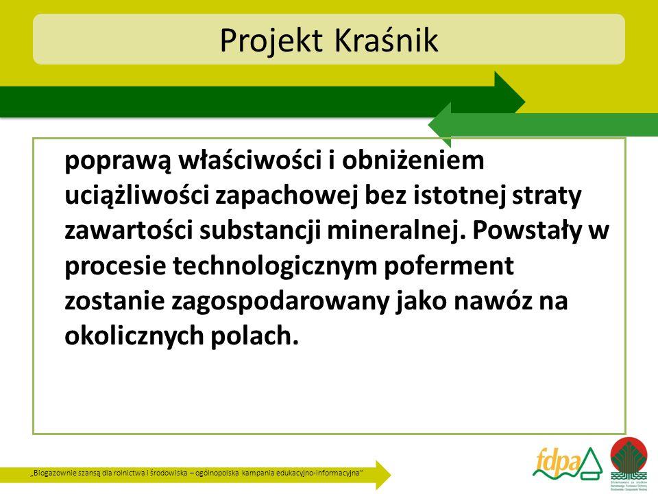 Biogazownie szansą dla rolnictwa i środowiska – ogólnopolska kampania edukacyjno-informacyjna Projekt Kraśnik poprawą właściwości i obniżeniem uciążli