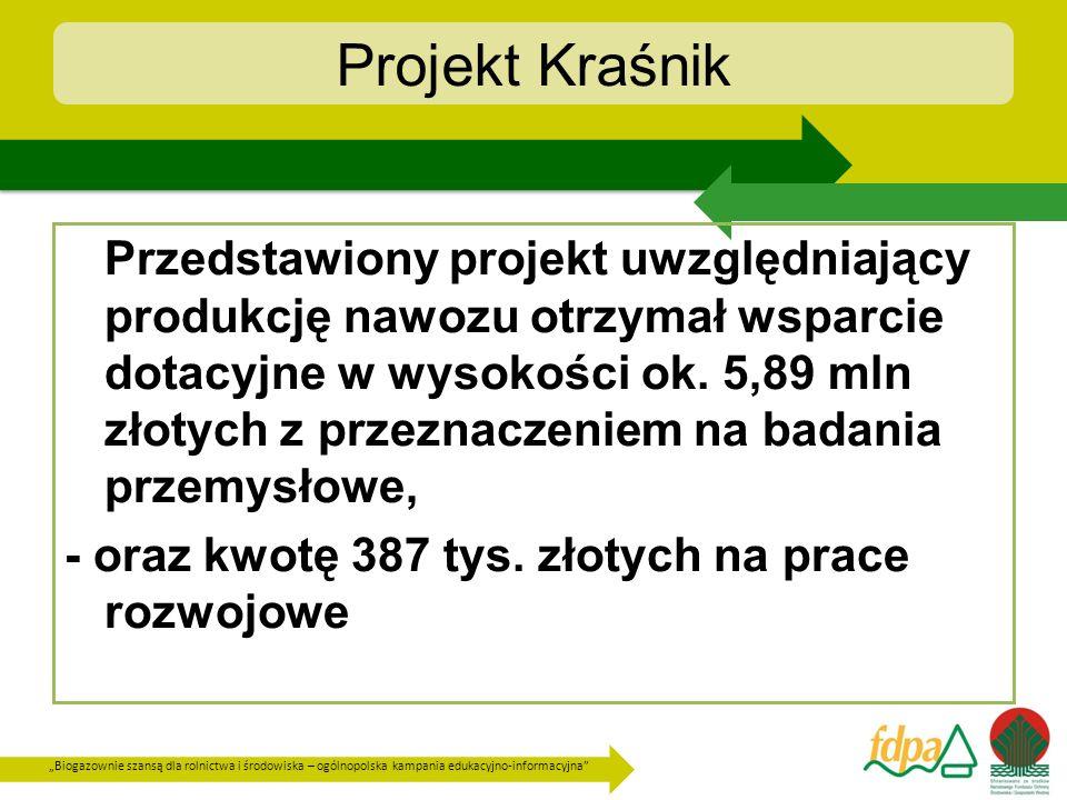 Biogazownie szansą dla rolnictwa i środowiska – ogólnopolska kampania edukacyjno-informacyjna Projekt Kraśnik Przedstawiony projekt uwzględniający pro