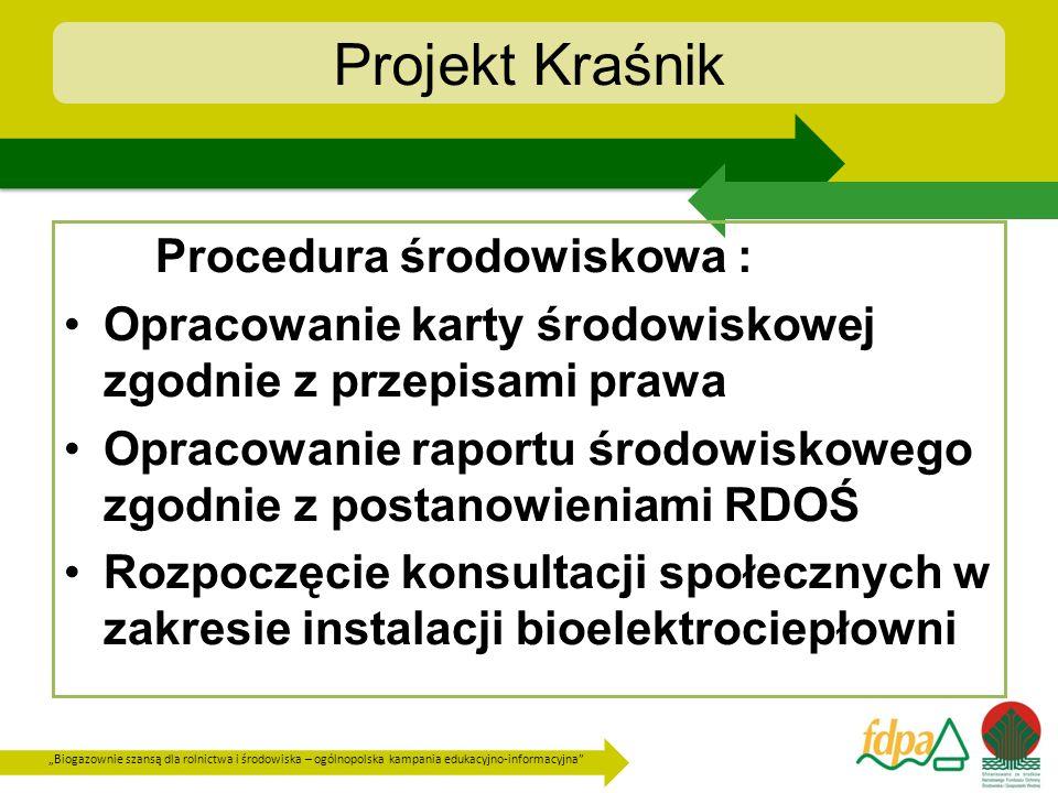 Biogazownie szansą dla rolnictwa i środowiska – ogólnopolska kampania edukacyjno-informacyjna Projekt Kraśnik Procedura środowiskowa : Opracowanie kar