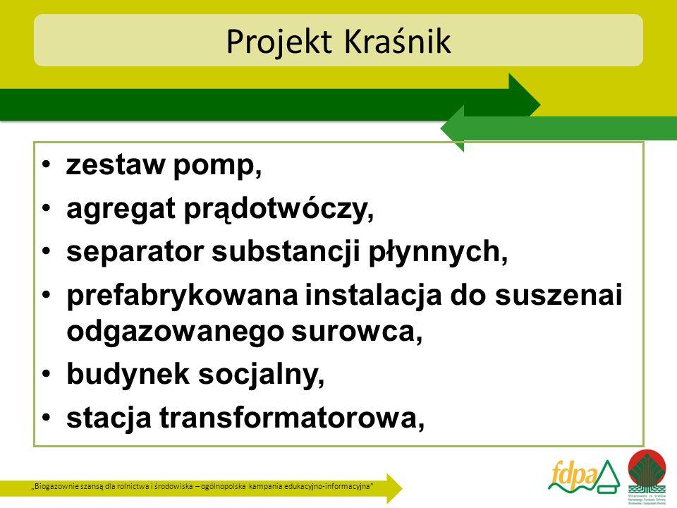 Biogazownie szansą dla rolnictwa i środowiska – ogólnopolska kampania edukacyjno-informacyjna Projekt Kraśnik zestaw pomp, agregat prądotwóczy, separa