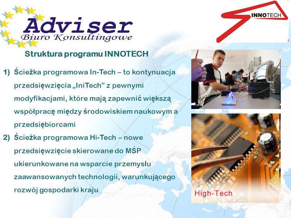 Struktura programu INNOTECH 1) Ś cie ż ka programowa In-Tech – to kontynuacja przedsi ę wzi ę cia IniTech z pewnymi modyfikacjami, które maj ą zapewni