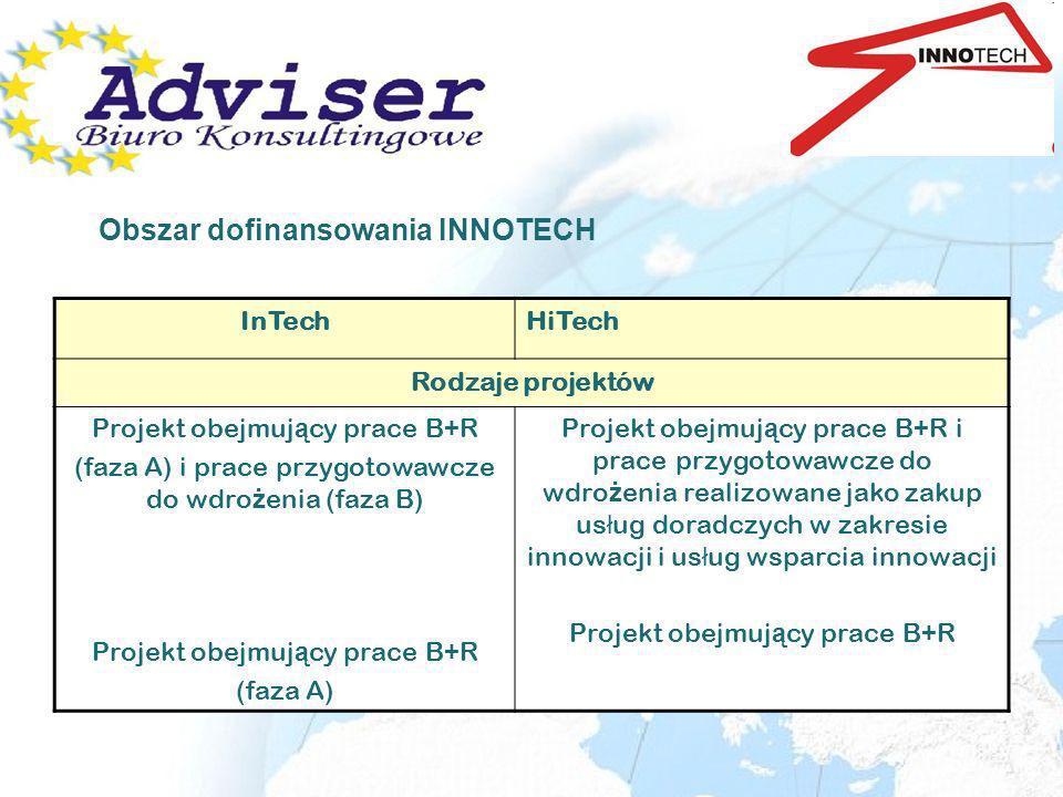 InTechHiTech Rodzaje projektów Projekt obejmuj ą cy prace B+R (faza A) i prace przygotowawcze do wdro ż enia (faza B) Projekt obejmuj ą cy prace B+R (