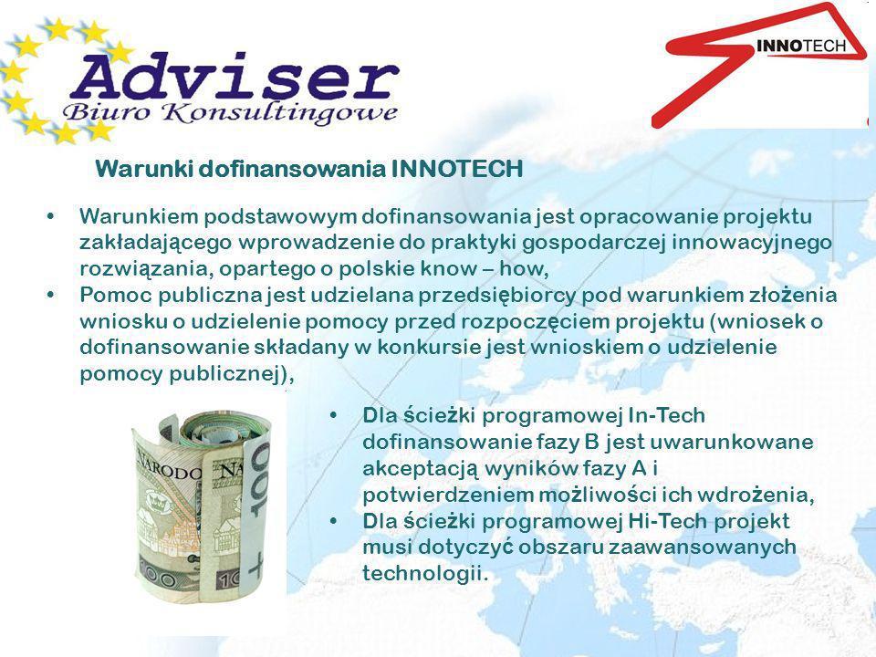 InTechHiTech Czas realizacji projektu maks.3 lata faza B maks.