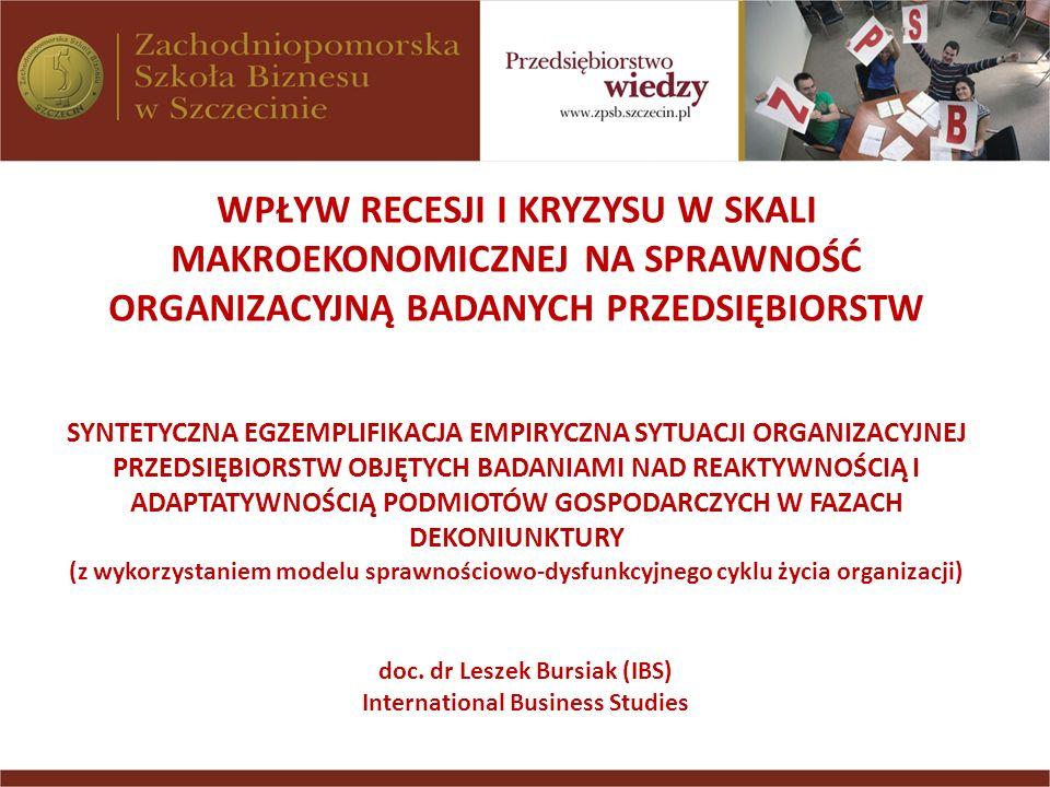 Model odzwierciedlający wpływ dysfunkcji organizacyjnych na sprawność funkcjonowania organizacji gospodarczych Natężenie cechy: 1 bardzo słabe; 2 słabe; 3 umiarkowane; 4 silne; 5 bardzo silne; 6 krytyczne Źródło: L.Bursiak, Zarządzanie zmianami w organizacjach gospodarczych (na przykładzie wybranych przedsiębiorstw gospodarki morskiej) Praca doktorska, Uniwersytet Szczeciński, Szczecin 1997, s.