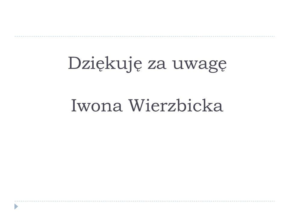 Dziękuję za uwagę Iwona Wierzbicka