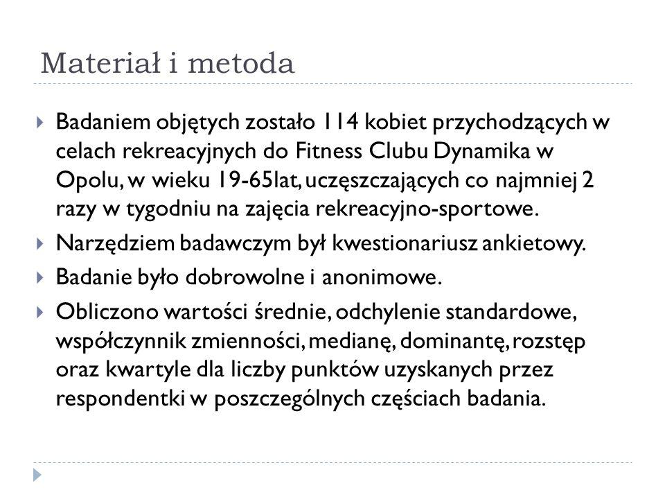 Materiał i metoda Badaniem objętych zostało 114 kobiet przychodzących w celach rekreacyjnych do Fitness Clubu Dynamika w Opolu, w wieku 19-65lat, uczę