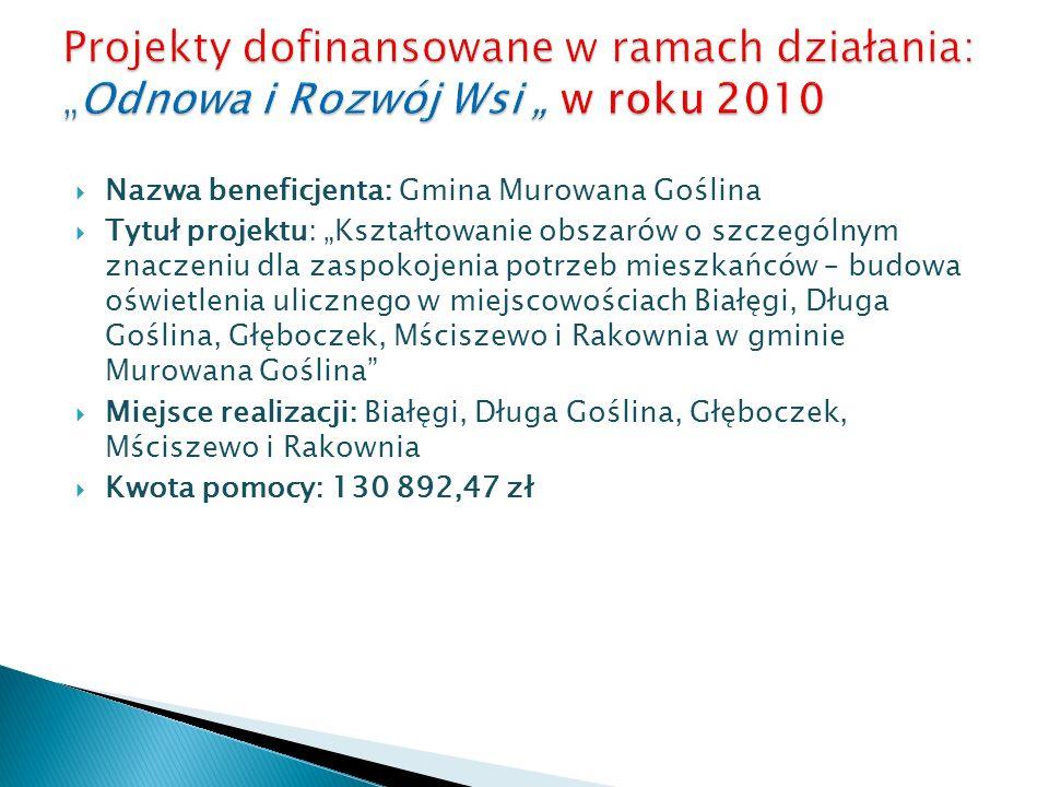 Nazwa beneficjenta: Gmina Murowana Goślina Tytuł projektu: Kształtowanie obszarów o szczególnym znaczeniu dla zaspokojenia potrzeb mieszkańców – budow
