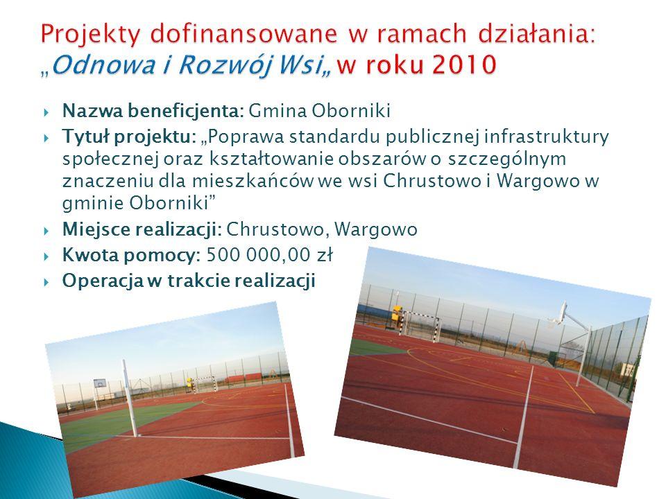 Nazwa beneficjenta: Gmina Oborniki Tytuł projektu: Poprawa standardu publicznej infrastruktury społecznej oraz kształtowanie obszarów o szczególnym zn