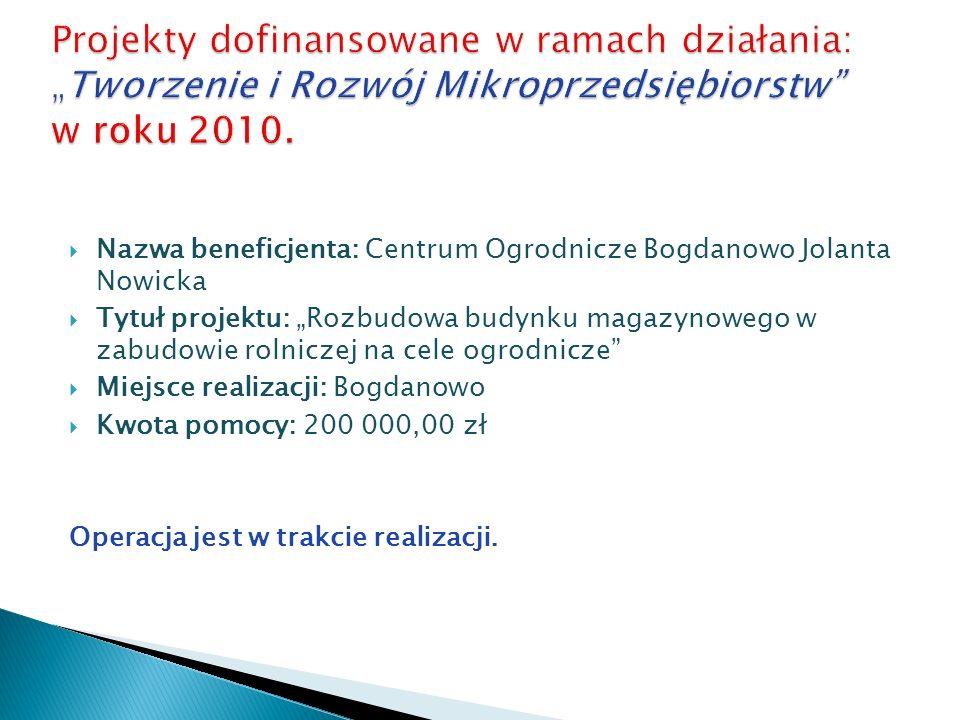 Nazwa beneficjenta: Centrum Ogrodnicze Bogdanowo Jolanta Nowicka Tytuł projektu: Rozbudowa budynku magazynowego w zabudowie rolniczej na cele ogrodnic