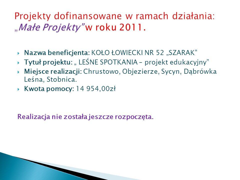 Nazwa beneficjenta: KOŁO ŁOWIECKI NR 52 SZARAK Tytuł projektu: LEŚNE SPOTKANIA – projekt edukacyjny Miejsce realizacji: Chrustowo, Objezierze, Sycyn,