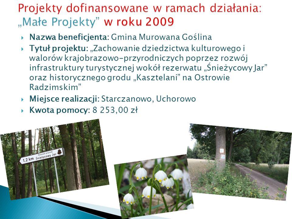 Nazwa beneficjenta: Gmina Murowana Goślina Tytuł projektu: Zachowanie dziedzictwa kulturowego i walorów krajobrazowo-przyrodniczych poprzez rozwój inf