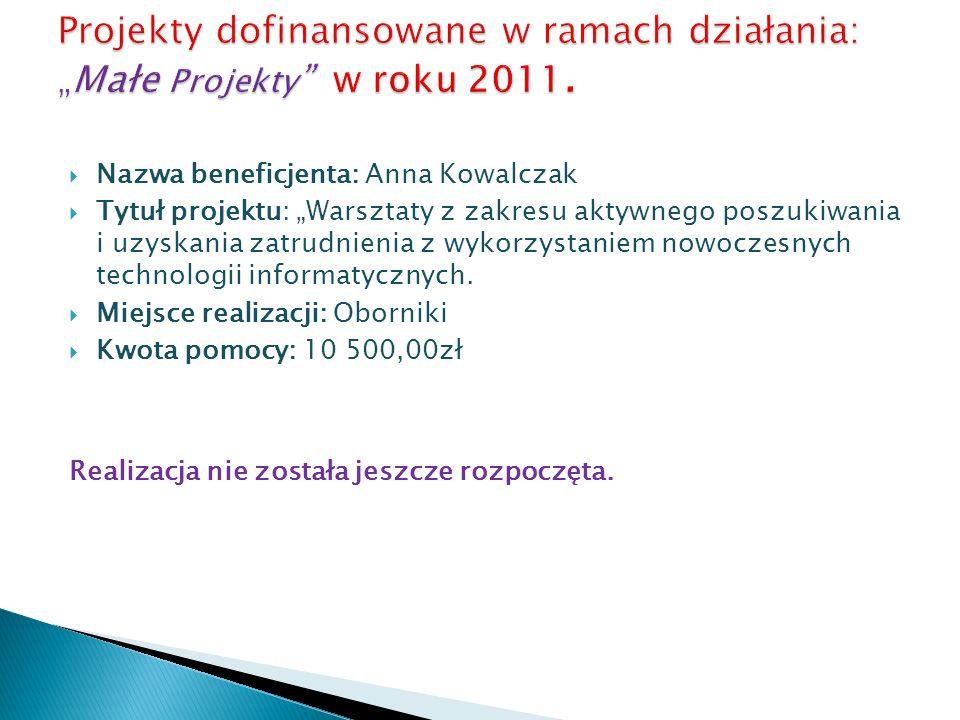 Nazwa beneficjenta: Anna Kowalczak Tytuł projektu: Warsztaty z zakresu aktywnego poszukiwania i uzyskania zatrudnienia z wykorzystaniem nowoczesnych t