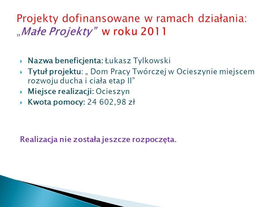 Nazwa beneficjenta: Łukasz Tylkowski Tytuł projektu: Dom Pracy Twórczej w Ocieszynie miejscem rozwoju ducha i ciała etap II Miejsce realizacji: Ociesz