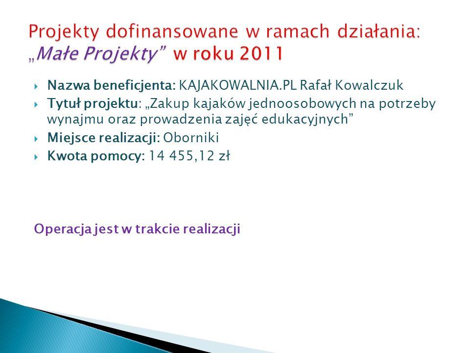 Nazwa beneficjenta: KAJAKOWALNIA.PL Rafał Kowalczuk Tytuł projektu: Zakup kajaków jednoosobowych na potrzeby wynajmu oraz prowadzenia zajęć edukacyjny