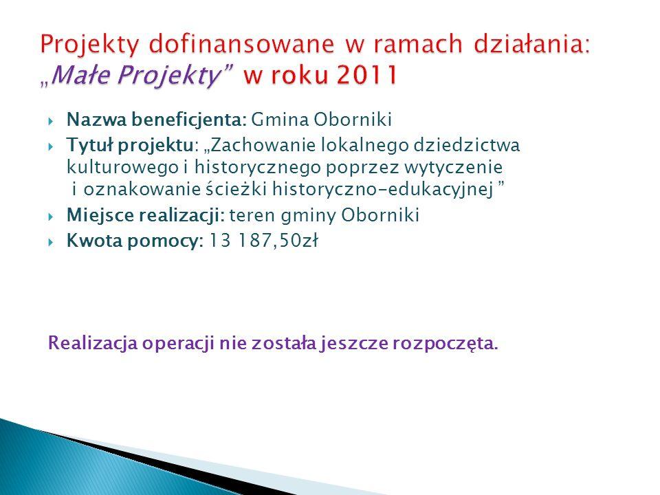 Nazwa beneficjenta: Gmina Oborniki Tytuł projektu: Zachowanie lokalnego dziedzictwa kulturowego i historycznego poprzez wytyczenie i oznakowanie ścież